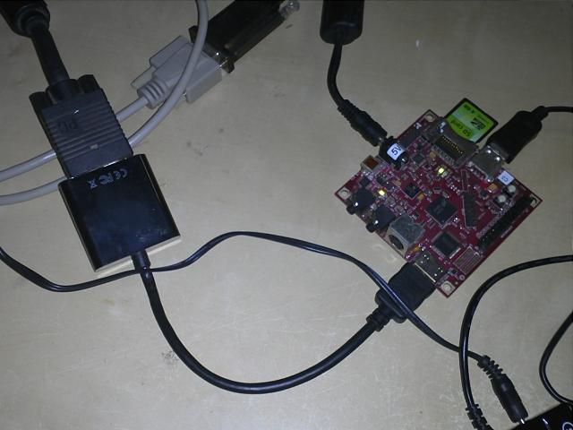 Beagleboard with unpowered HDMI to VGA converter
