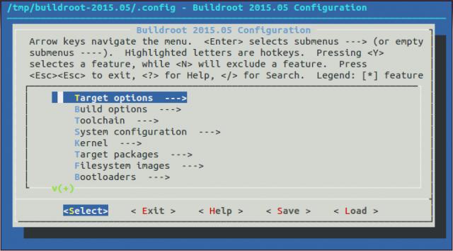 Buildroot make menuconfig. Main Screen