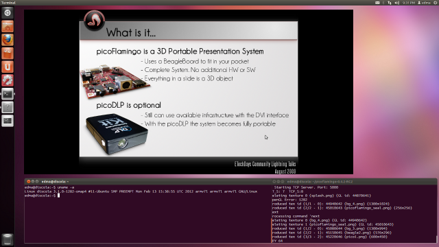 picoFlamingo on Pandaboard Ubuntu 11.10: First ever execution of picoFlamingo in a Pandaboard running Ubuntu 11.10 fro ARM. The Pandaboard is driving a 1080p display and the picoFlamingo window is 720p